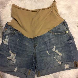 Pants - Distressed Maternity Shorts